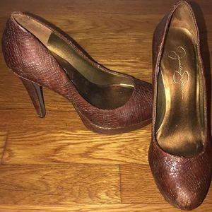 Jessica Simpson Snake Skin leather heels